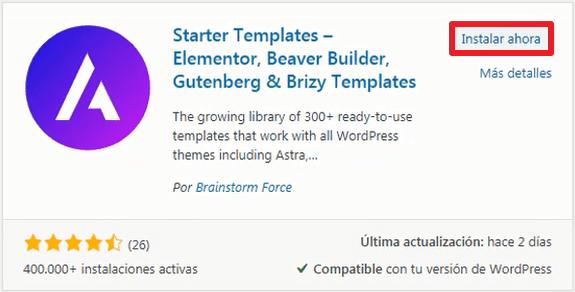 starter templates wordpress