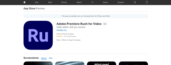 Adobe Premiere Rush for Video iPhone