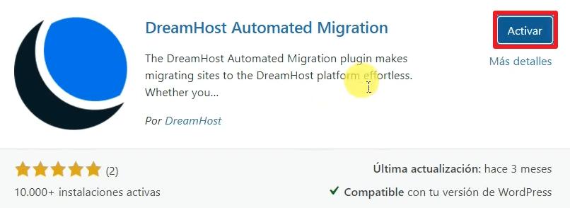activar plugin migracion wordpress